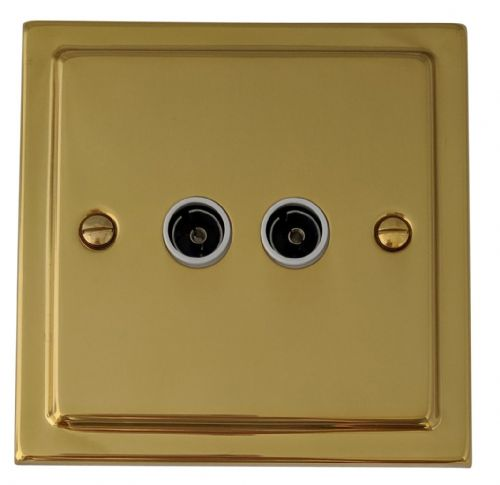 G&H TB36W Trimline Plate Polished Brass 2 Gang TV Coax Socket Point
